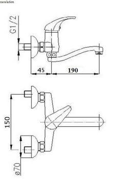 Design wandbatterie wandarmatur k che bad auslauf for Kaltwasseranschluss kuche