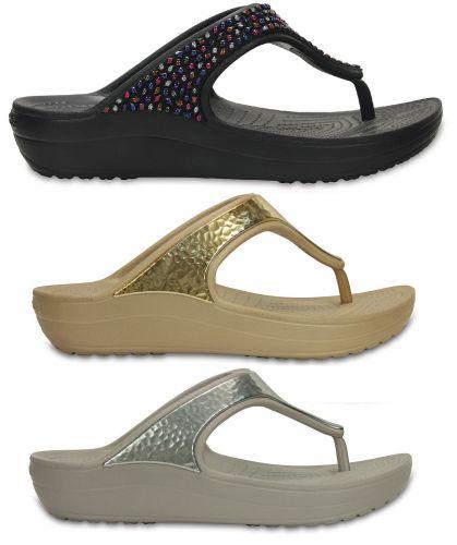 crocs crocs sloane embellished flip damen schuhe schlappen wedge ebay. Black Bedroom Furniture Sets. Home Design Ideas