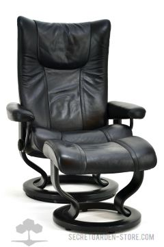 ekornes stressless wing m mit hocker schwarz ledersessel relaxsessel ebay. Black Bedroom Furniture Sets. Home Design Ideas