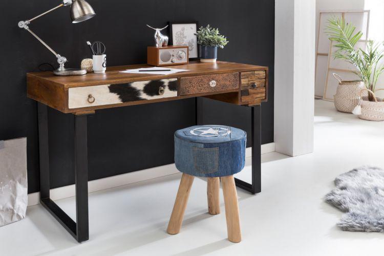 wohnling schreibtisch patna 120 x 60 x 79 cm massiv holz laptoptisch mango natur ebay. Black Bedroom Furniture Sets. Home Design Ideas
