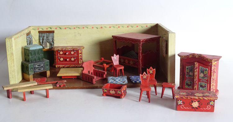 Antikes puppenstuben zimmer schlafzimmer mit m beln for Versand von mobeln