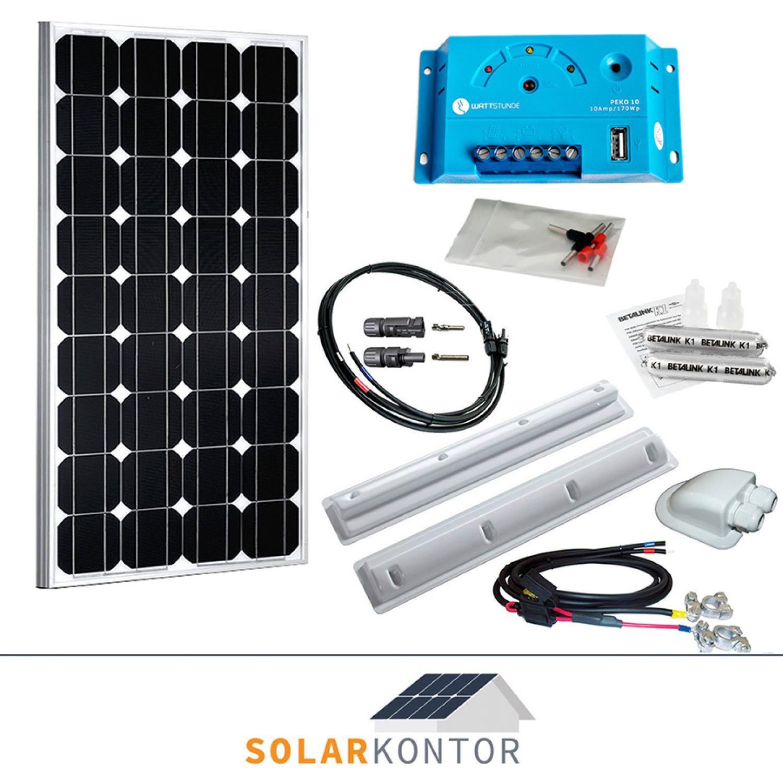 100w wattstunde wohnmobil 12v solaranlage solar set. Black Bedroom Furniture Sets. Home Design Ideas