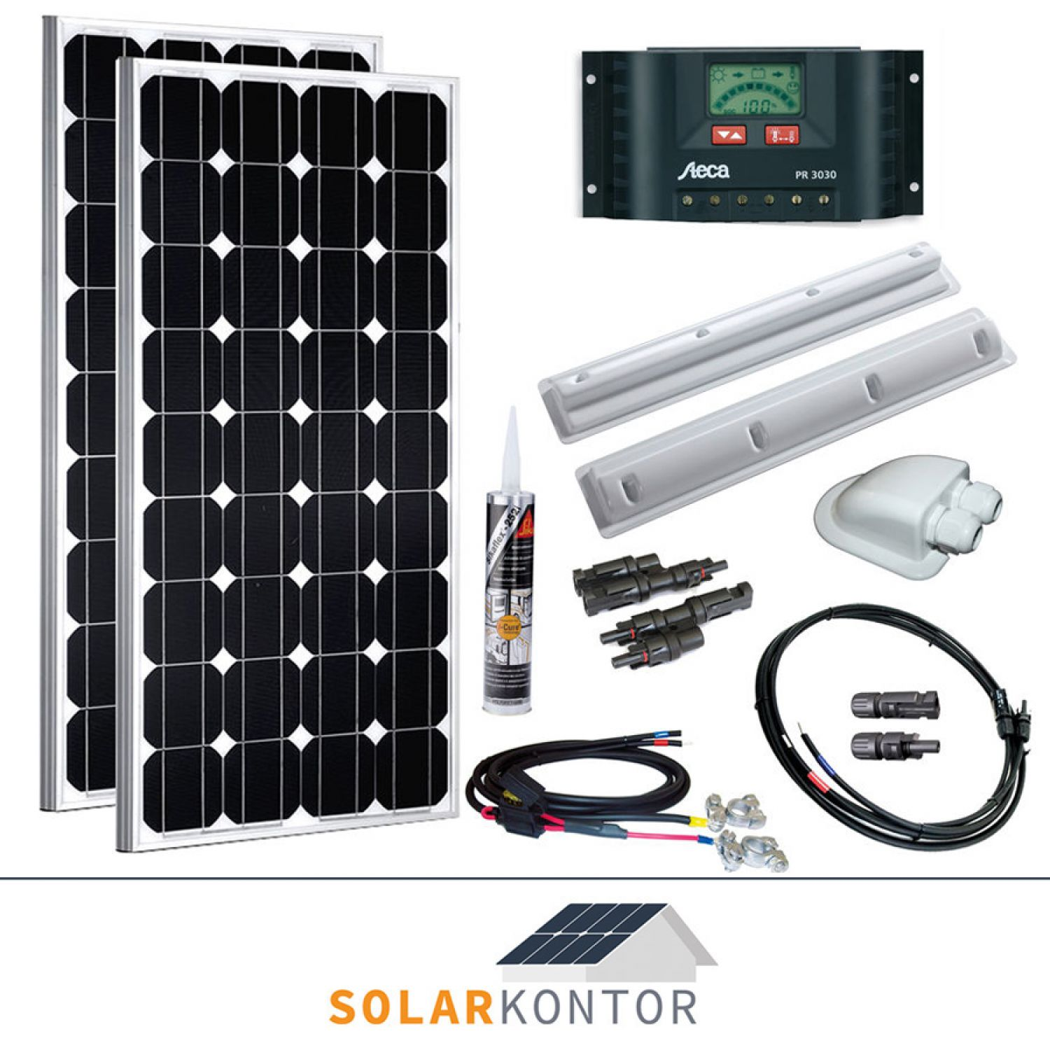 200w wattstunde wohnmobil 12v solaranlage solar set komplettpaket 200watt steca ebay. Black Bedroom Furniture Sets. Home Design Ideas