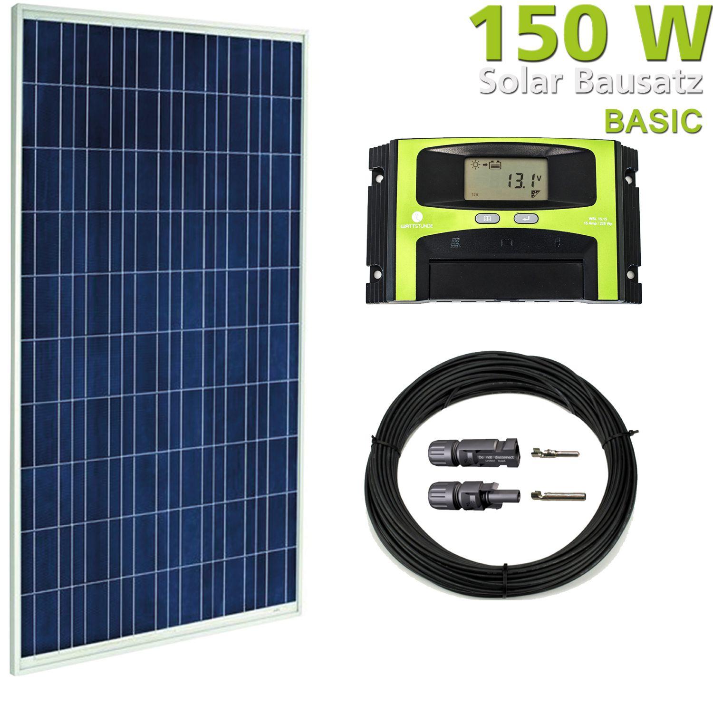 150w solaranlage solar bausatz pv set f r garten wohnmobil. Black Bedroom Furniture Sets. Home Design Ideas