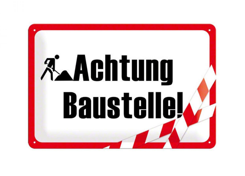 Baustelle schild frau  ACHTUNG BAU BAUEN BAUSTELLE HANDWERKER BLECHSCHILD TÜRSCHILD ...