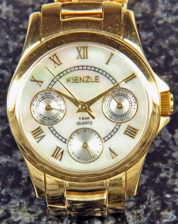kienzle montre pour femme quartz plaqu e or avec m tal bracelet date ebay. Black Bedroom Furniture Sets. Home Design Ideas