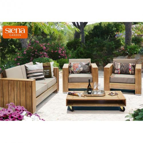 lounge set gartengarnitur gartenm bel halmstad m belset holz neu ebay. Black Bedroom Furniture Sets. Home Design Ideas