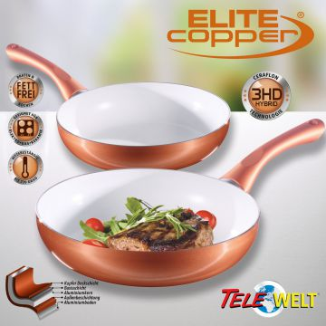 4tlg ceraflon keramik kupfer pfannenset elite copper pfanne bratpfanne induktion ebay. Black Bedroom Furniture Sets. Home Design Ideas
