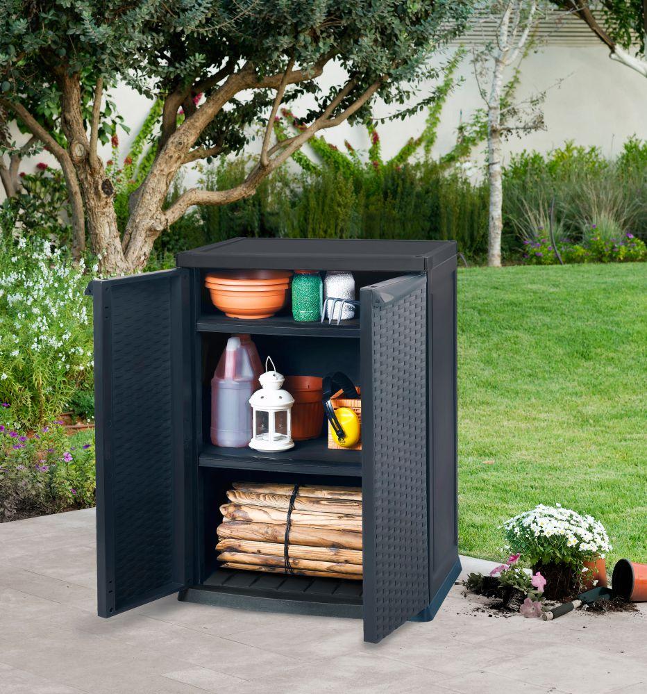 gartenschrank terrassenschrank poly rattan kunststoffschrank ger teschrank ebay. Black Bedroom Furniture Sets. Home Design Ideas