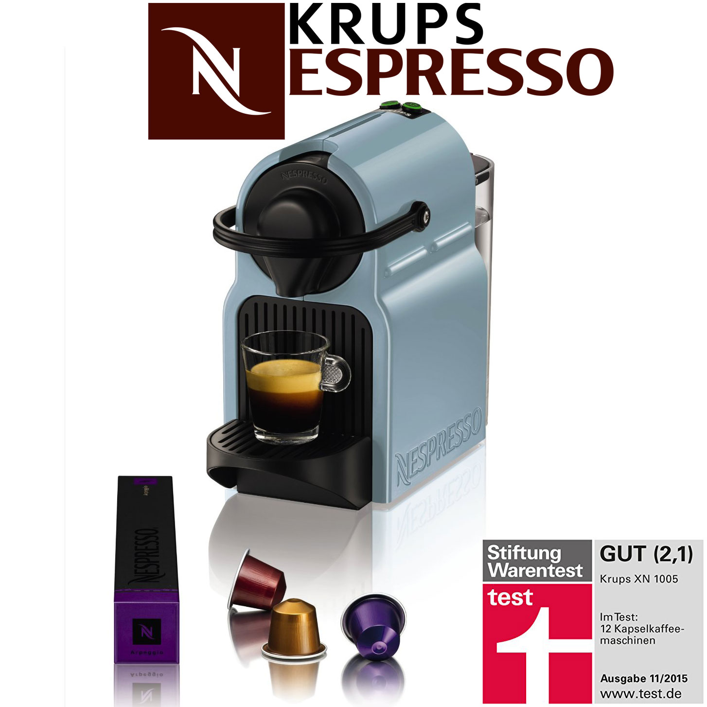 krups nespresso kaffee caf kapsel maschine inissia 19 bar himmelblau neu ovp ebay. Black Bedroom Furniture Sets. Home Design Ideas