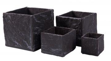 blumentopf pflanzentopf bertopf schiefer optik jardiniere slate quadratisch ebay. Black Bedroom Furniture Sets. Home Design Ideas