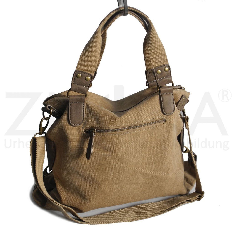 b4646a9136430 Jennifer Jones - Canvas Damen Umhängetasche Handtasche Schultertasche -  Natur